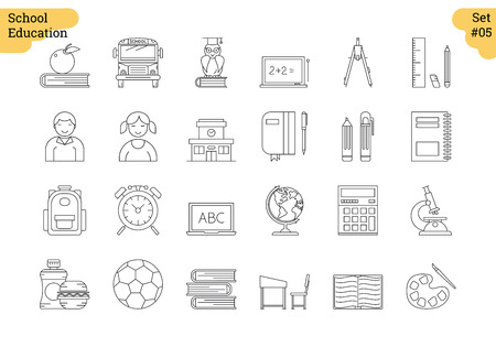 Vector set of 24 linear outline icons. School education isolated pictographs. Boy and girl, supplies for study and learning