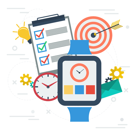 Vector square banner. Concept of time management. App on smart watch, check list, clock and goal target in flat style on white background Illustration