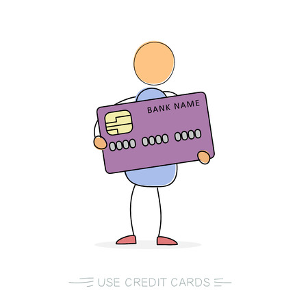 Vector doodle isolated illustration. Man hold big purple credit card in hands. Banking or finance concept