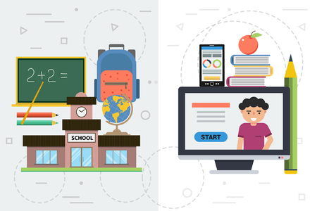 Vector concept online education. Comparison of conventional and remote training. Usual school building, board and backpack. Boy gets training through computer with books, apple, pencil and smart phone