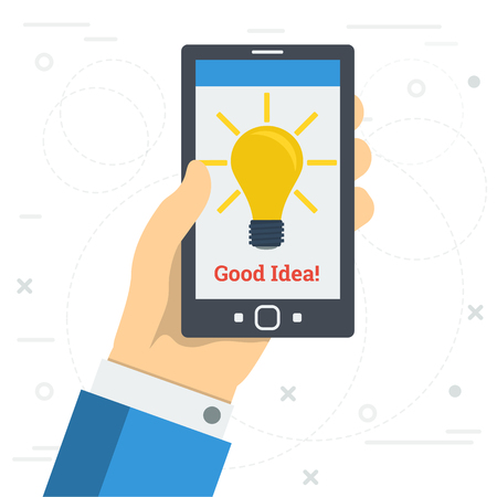 Vector square illustration in flat style. Hand with phone and yellow lamp on monitor. Concept of success business idea or proposition