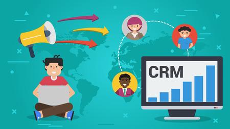 벡터 가로 배너입니다. 고객 관계 관리 - CRM의 개념. 컴퓨터와 랩톱을 사용하는 남성과 전 세계 3 명의 아바타 일러스트