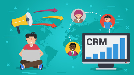 Vector horizontal banner. Concept of Customer Relationship Management - CRM. Man with computer and laptop and three avatars of customers worldwide