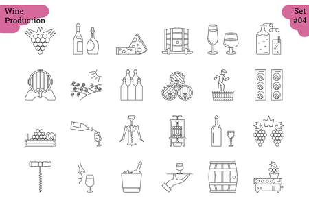 nose picking: Vector set of 24 linear outline icons. Wine production and service isolated pictographs. Viticulture, winemaking and storage, tools and equipment Illustration