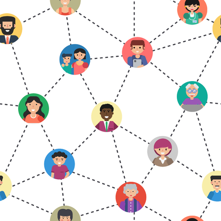 Seamless pattern of internet communication or social networking. Various men and woman on colored backgrounds connected by lines in flat style