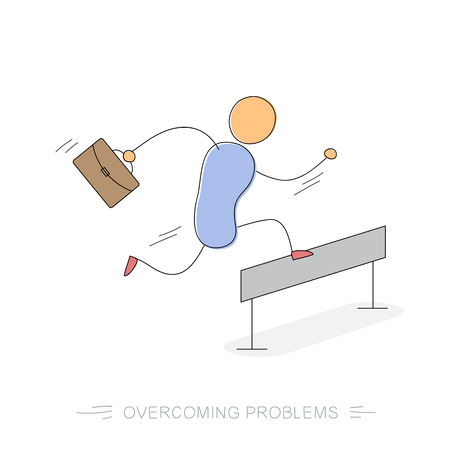 Running and jumping over barrier businessman with office bag. Concept of way to success or problems overcoming