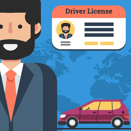 driver license: Vector square flat banner of businessman with car and driver license. Concept of successful training in drivers school