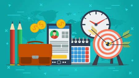 smart goals: Vector concept of personal achievements and goals. Target, smart phone, clock and office items in flat on green background
