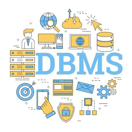 Linear round concept of database management system. Illustration