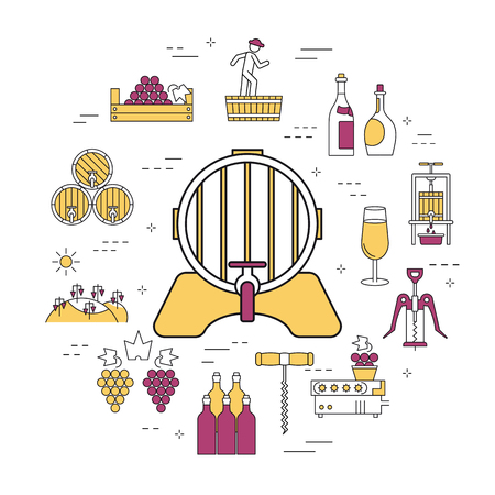Linear round concept of barrel of wine.