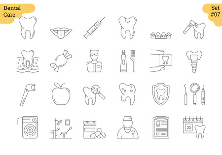 Set of 24 dental care linear outline icons.