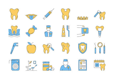 bracket: Vector set of 24 linear outline icons. Dental care isolated pictographs. Teeth, tools, treatment, professional health care and orthodontics, implants in blue and yellow colors