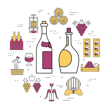 Linear round concept of red and white bottles of wine. Illustration