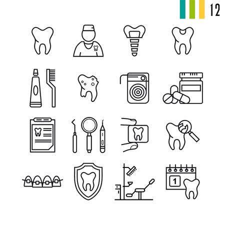 Outline set  of dental icons.