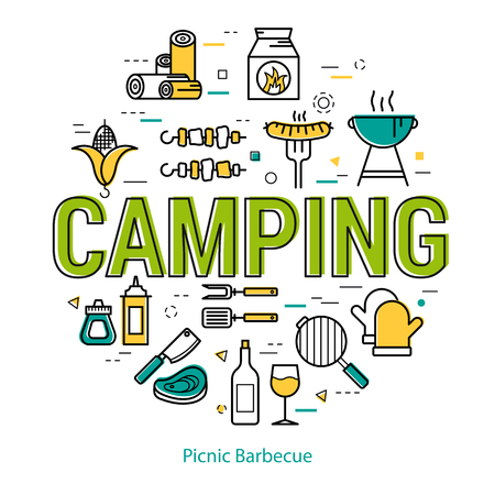 Round linear concept of outdoor recreation with green letters CAMPING caption. Illustration