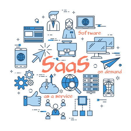 Red SaaS word with blue linear icons on white background, round web banner.