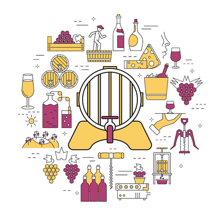 Linear round concept of barrel of wine, processing of grapes.