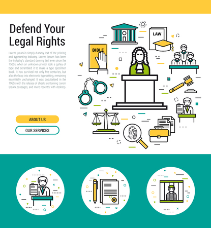 Header template of legal issues and judiciary service.