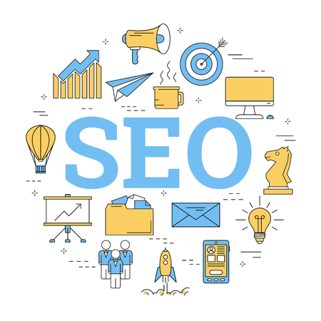 Round linear SEO banner with icons on white background.