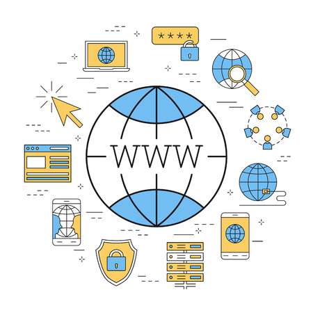 Linear round concept of world wide web Illustration