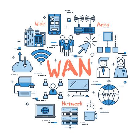 Vector a palavra WAN vermelha com ícones lineares azuis no fundo branco. Web banner redondo. Conceito de rede de área ampla, conexão à internet e uso de computadores