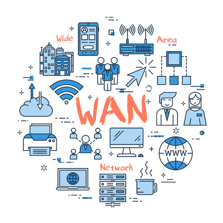 Vector red WAN word with blue linear icons on white background. Round web banner. Concept of wide area network, internet connection and computer using