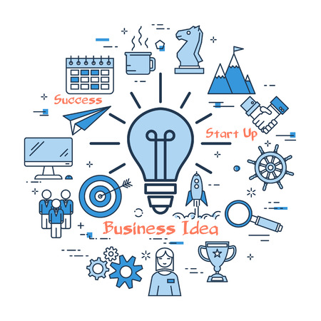 Vector blue BUSINESS IDEA lamp with linear icons on white background. Round web banner. Concept of perfect successful idea, best management and brainstorming or good start up