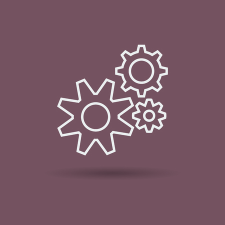 Linear icon of three gears on dark brown background. Illustration