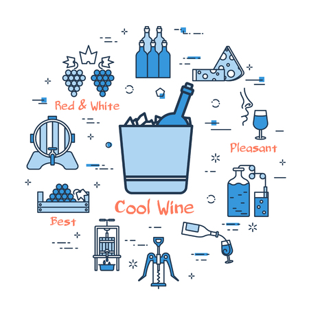 Linear blue round concept of Cool Wine icons.