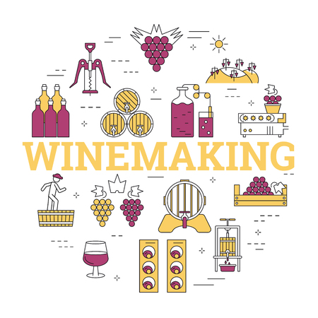 Linear round concept of winemaking icons.