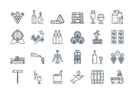 Set of linear outline black and white icons of wine production. Vektoros illusztráció