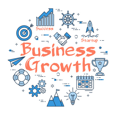 Vector linear blue round concept of Business Growth. Line icons of Startup, Company Success and Technology of Leadership