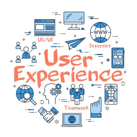 벡터 선형 파란색 사용자 경험의 개념을 라운드. 웹 사이트 및 컨텐츠의 설계 및 개발.