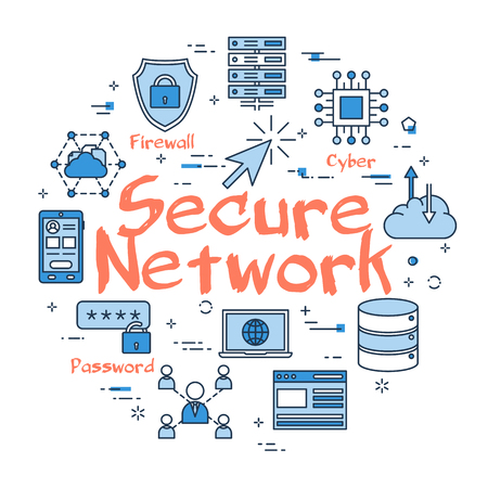 Secure network related icons.