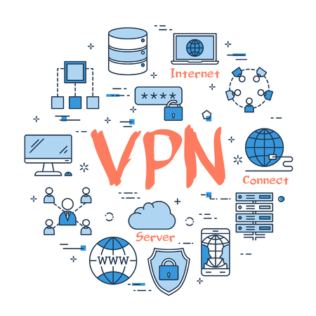 Vector linear blue round concept of Virtual Private Network. Red sign VPN and internet thin line icons, secure connection, transfer files and server data center.