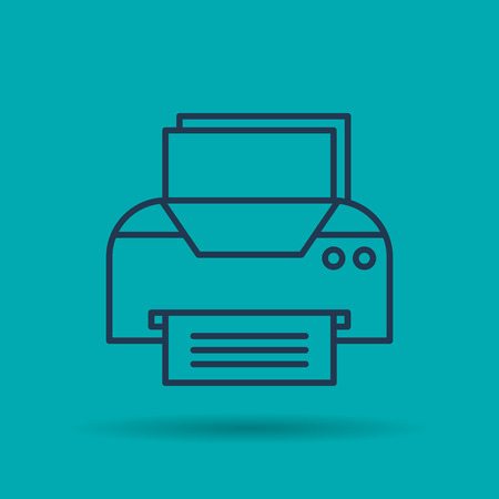 Vector linear Office Printer. Isolated web outline icon on blue background. Pictogram of business office supplies and technologies.