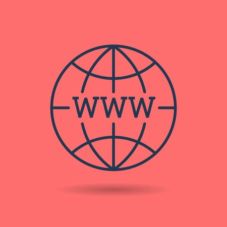 Vector linear internet concept. Isolated web outline icon on red background with letters WWW - World Wide Web pictogram