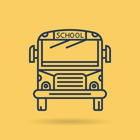 Vector line art school bus in front view. Isolated web outline icon on yellow background. Transportation and education concept Stok Fotoğraf
