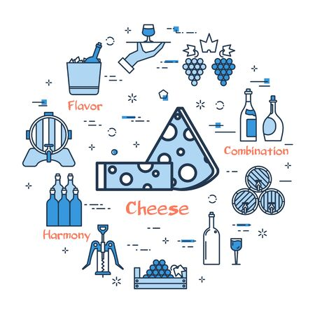 Vector linear blue round concept of Wine and Cheese. Thin line icons of wine making and storage. Modern web banner on white background