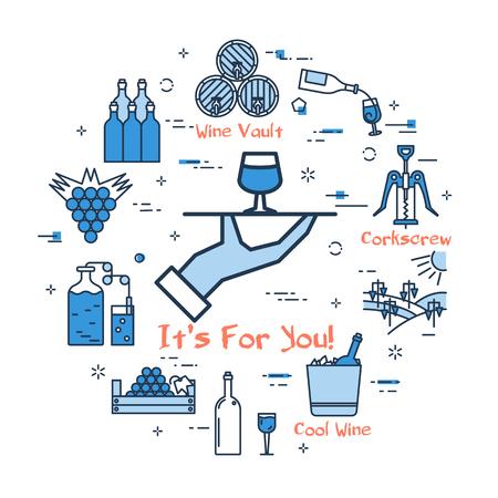 Blue round banner - wine waiter 版權商用圖片 - 91002171