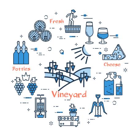 Blue round Vineyard concept