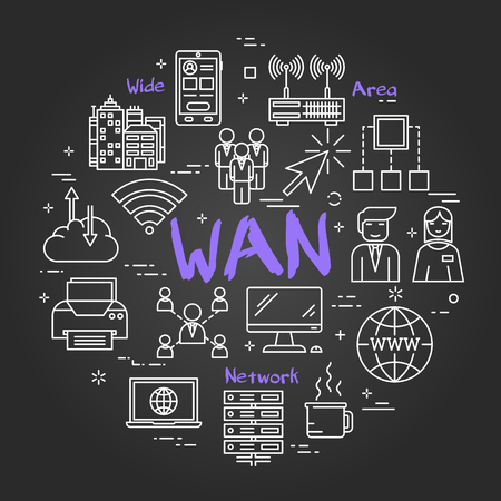Linear round concept of Wide Area Network . Thin line icons of WAN, Internet technologies, computer networks, secure connection. Modern web banner on on black chalk board Illustration