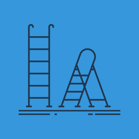 A Vector isolated thin line icon of ladder and stepladder on blue background. Farmer tool and equipment Illustration