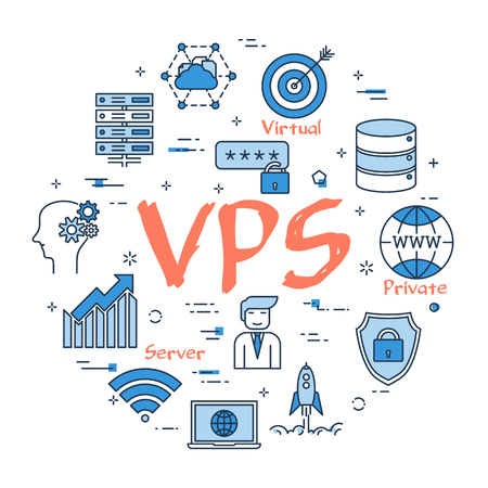 Un concetto rotondo blu lineare di vettore del concetto di VPS. Icone di linea sottile di archiviazione di informazioni sicure su server Internet, database e cloud. Banner web moderno su sfondo bianco Vettoriali