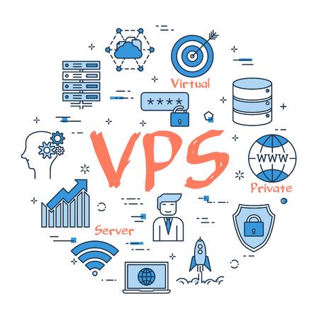 VPS 개념의 벡터 선형 파란색 라운드 개념. 인터넷 서버, 데이터베이스 및 클라우드 안전 정보 저장 장치의가는 선 아이콘. 흰색 배경에 현대 웹 배너 일러스트