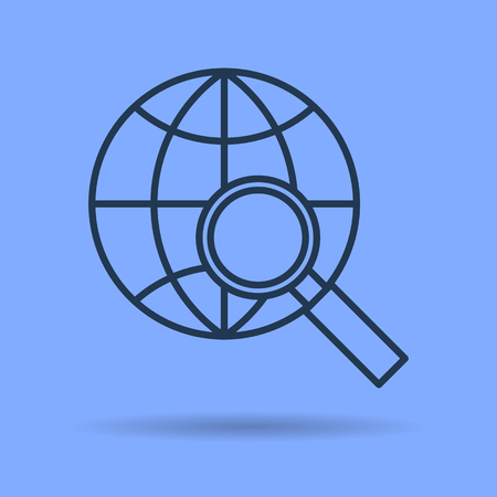 A Vector isolated thin line icon of internet data and information searching with magnifier on blue background. Linear web pictogram Illustration