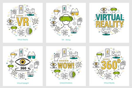 Six VR banners - virtual reality 일러스트