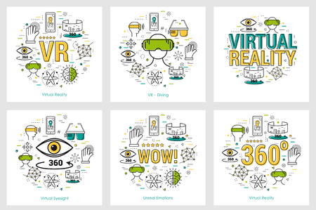 Six VR banners - virtual reality Stock Illustratie