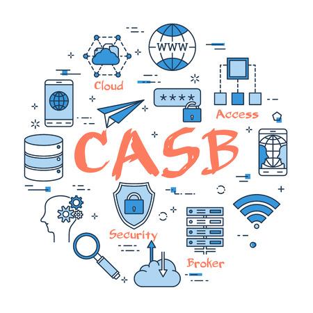 Blue round CASB concept Vector illustration. Vectores