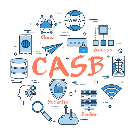Blue round CASB concept Vector illustration. Illustration